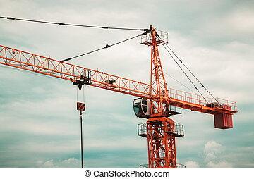 chantier, industriel, closeup, grue