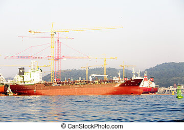 chantier naval, industriel, corée, complexe