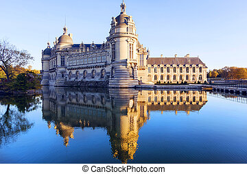 Chantilly castle museum - View of Chantilly castle with...