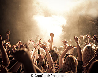 Chanting crowd at a concert - Crowd at a concert, hands up. ...