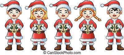 chants, enfants, cinq, chant, noël, heureux