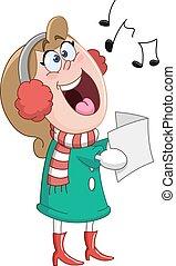chants, femme, noël