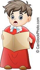 chants, garçon, chant, dessin animé, noël