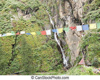 Chants hanging on the way in Bhutan.
