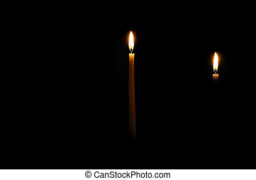 Chanuka candles lit for the first night.