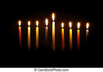 Chanuka 8th Night - Chanuka candles lit for the eighth...