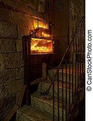 Chanuka lights on old jerusalem city street