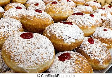 chanukah, 猶太的假日, 食物, -, sufganiot, donuts