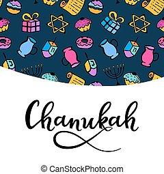 Chanukah greeting card in doodle style. menorah, dreidel, oil, Torah, donut. hand lettering.