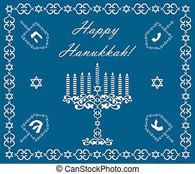 Chanukah holiday background with dreidels and khanukiyah,...