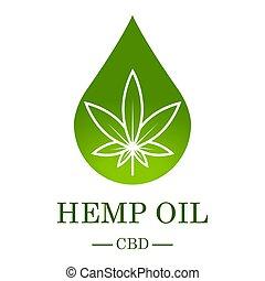 chanvre, template., monde médical, oil., illustration., vecteur, cannabis., logo, cannabis, isolé, extract., produit, icône, étiquette, graphique, leaf., marijuana