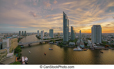 Chao Phraya River at sunset, Bangkok, Thailand