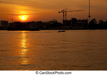 Chao Phraya River at sunset