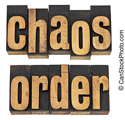 chaos and order - a collage of isolated words in vintage...