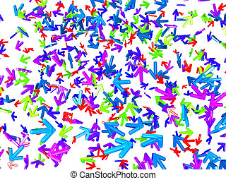 Chaos: colorful arrows with random direction - Right way:...