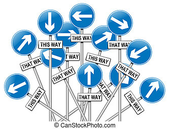 Illustration depicting a large number of directional roadsigns in a chaotic arrangement. White background.