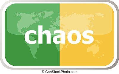 chaos. Flat web button icon. World map earth icon. Vector illustration