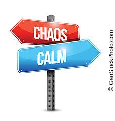 chaos, kalm, illustratie, meldingsbord