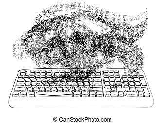 chaos. keyboard and chaotic fog of number and letter