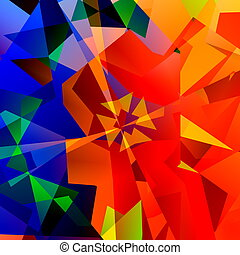Chaotic Abstract Colorful Art - Red Green and Blue Color - Geometrical Multicolored Triangles Background - Psychedelic Rainbow of Colors - Kaleidoscope Fantasy Illustration - Computer Generated Design - Digital Creative Artwork