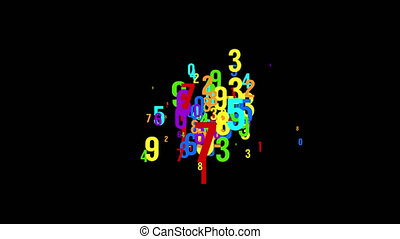Chaotic colored numbers flow abstract background. Looped animation.