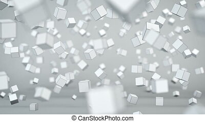 Chaotic cubes particles in air 3D animation