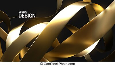 Chaotic golden ribbons. Vector 3d illustration. Abstract ...
