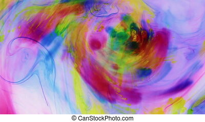 Chaotic movement of colored paint in water. Approximation,...