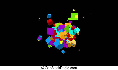 Chaotic multicolored cubes particles movement - abstract looped background. Option with black background and alpha channel.
