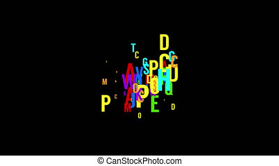 Chaotic movement of the multicolored letters - abstract looped background. . Option with black background and alpha channel.