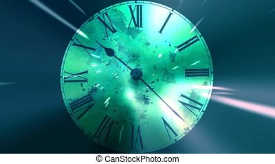 Chaotic moving clock. Infinitely fast moving clock. The concept of bending time and space. Grunge clock