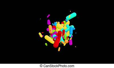 Chaotic multicolored pills pellets particles movement - abstract looped background. Option with black background and alpha channel.