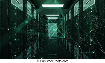 Chaotic Network Connections Establishing and Breaking Flying in Abstract Data Center Server Racks Room. Looped 3d Animation. Futuristic Digital Technology Concept. 4k Ultra HD 3840x2160.