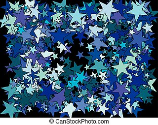 Chaotic stars on black background.