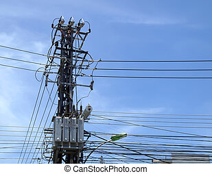 Chaotic wire communications with blue sky background