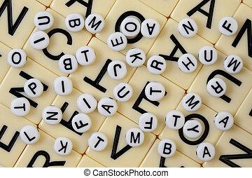 chaotisch, alfabet, achtergrond
