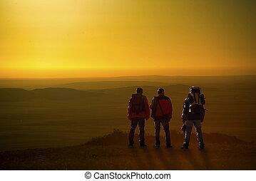chaoyang, excursionistas, tres