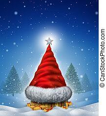 chapéu, árvore, natal
