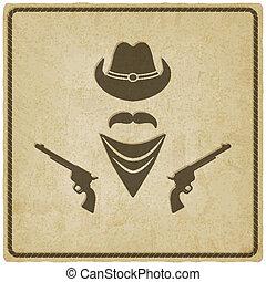 chapéu, antigas, arma, fundo, boiadeiro