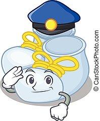 chapéu, bebê, caricatura, menino, botas, policia, azul, desgastar, desenho