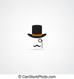 chapéu bowler, bigode