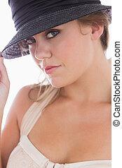 chapéu, branca, mulher, pretas, segurando