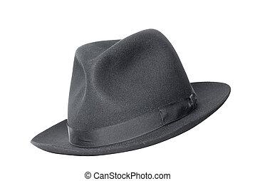 chapéu, branca, pretas, isolado, retro