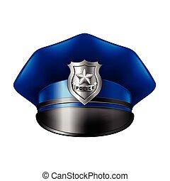 chapéu, branca, vetorial, polícia, isolado