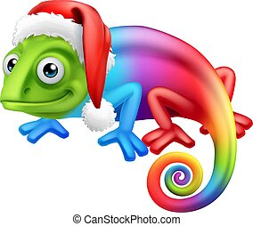 chapéu, camaleão, santa, natal, arco íris, caricatura