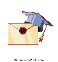 chapéu, cartão, graduação, convite
