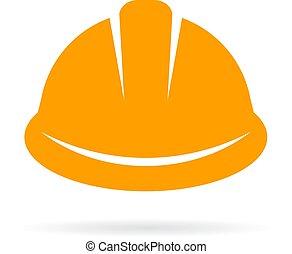 chapéu construção, difícil, amarela, ícone