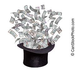 chapéu, dólares, saída, antigas, flaying