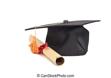 chapéu, diploma, graduação