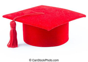 chapéu, graduação, vermelho